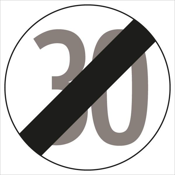 §52/11b Ende der Zonenbeschränkung 30 | flaches Verkehrszeichen