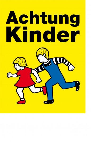 Achtung Kinder (2 laufende Kinder) mit weißer Banderole