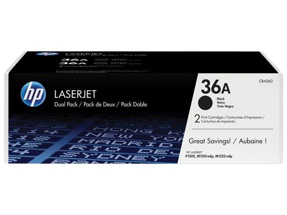 HP 36A 2-pack Black Original LaserJet Toner Cartridges Patrone 4000Seiten Schwarz